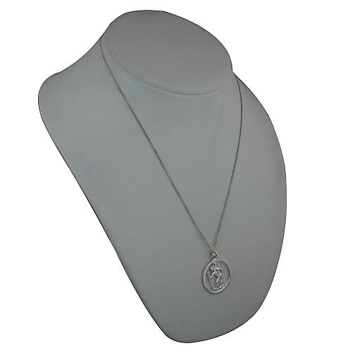 Silver 30mm round cut out St Christopher Pendant with a curb Chain 22 inches