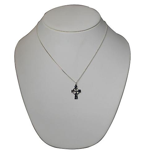 Silver 23x16mm hand engraved Celtic Cross with a Curb chain