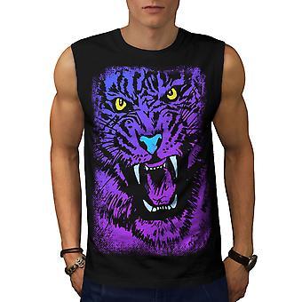 Tiger Beast Purple Animal Men BlackSleeveless T-shirt | Wellcoda