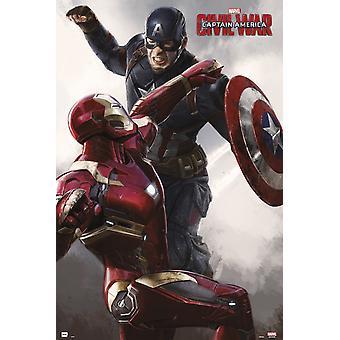 Captain America Civil War Cap Vs Iron Man Poster Poster Print