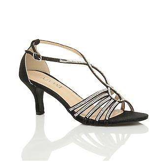 Damskie Ajvani środku pięty strappy diamante brokat Suknie ślubne wesele wieczór t-bar sandały buty