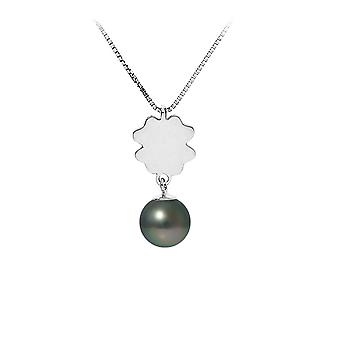 Necklace pendant clover Pearl of Tahiti and chain in 925 sterling silver