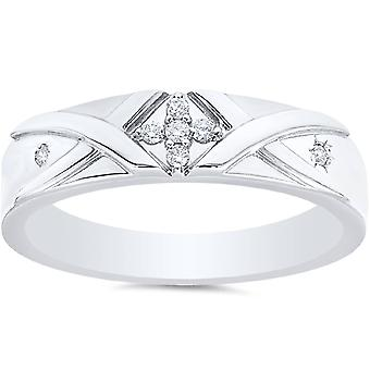 Mens Diamond Kruis Ring 14K wit goud