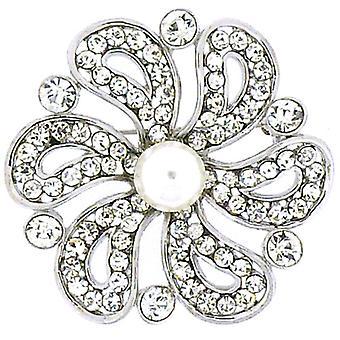 Archivio di spille argento perla & spilla fiore di cristallo a spirale
