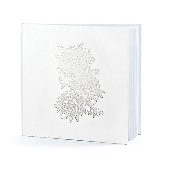 Wedding Guest Book White with Peonies in Silver 22 pages