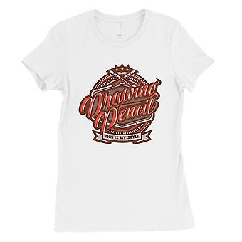 Drawing Pencil Womens White Vintage Design T-Shirt Drawing Gifts