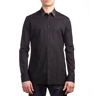 Balenciaga Men's Cotton Long Sleeve Dress Shirt Black