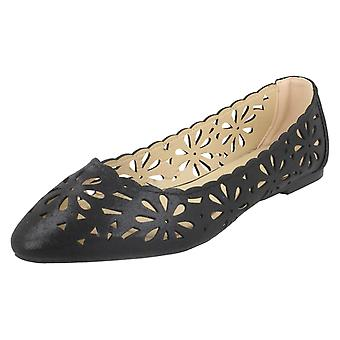 Ladies Spot On Flower Cut Out Ballerinas F80390 - Rose Gold Synthetic - UK Size 7 - EU Size 40 - US Size 9