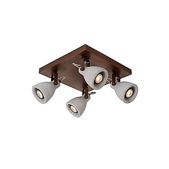 Lucide CONCRI LED 4 Dome Ceiling Plate Spot Light