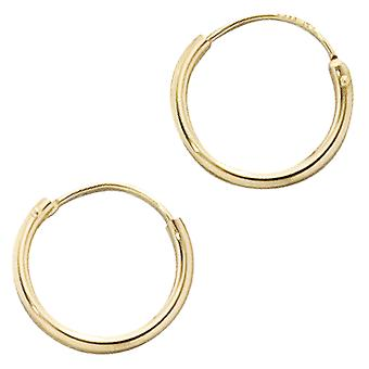 Hoop earrings earrings 333 / - yellow gold, diameter approx. 12.7 mm