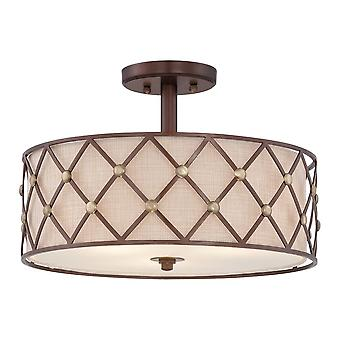 Quoizel Elstead Brown Lattice Semi Flush Ceiling Light In Copper Canyon