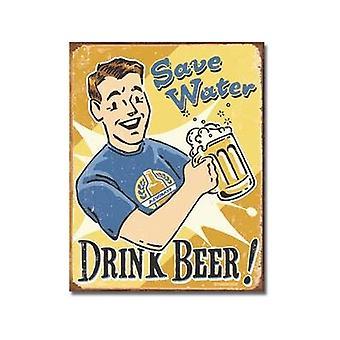 Save Water Drink Beer Weathered Metal Sign
