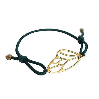 Gemshine - Damen - Armband - KNOTS Schmetterling Flügel - 925 Silber - Vergoldet - Grün - Größenverstellbar