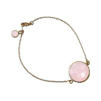 Gemshine - ladies - bracelet - gold plated - faceted Rose Quartz - pink - - 19 cm