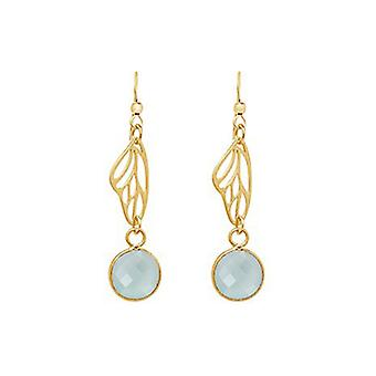 Silver earrings - gold plated - butterfly wings - chalcedony - sea green 4 cm