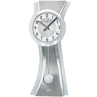 Wall clock quartz wall clock with pendulum glass curved chrome-plated aluminium