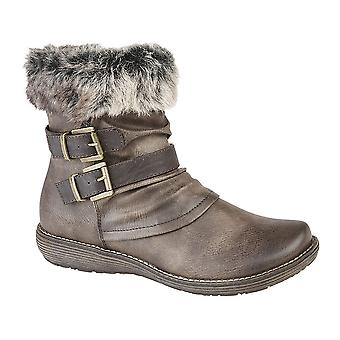 Ladies Womens Inside Zip Faux Fur Collar Padded Sock Ankle Boots Shoes