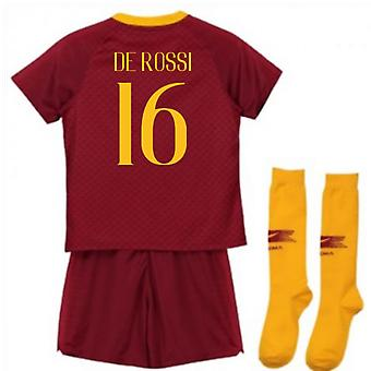 2018-2019 AS Roma Home Nike Little Boys Mini Kit (De Rossi 16)
