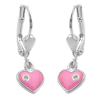 Brisur 21x7mm pink heart earrings 925 silver painted with cubic zirconia