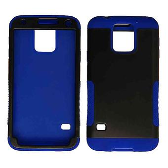 Caja tolva celular ilimitado para Samsung Galaxy S5 (negro piel azul y broche de presión)