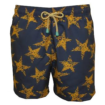 Oiler & Boiler Old Skool Rough Star Gold Swim Shorts, Navy With Gold