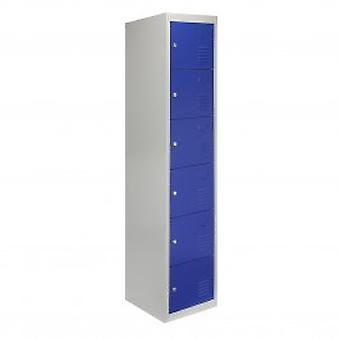 Metal Storage Lockers - Six Doors, Blue