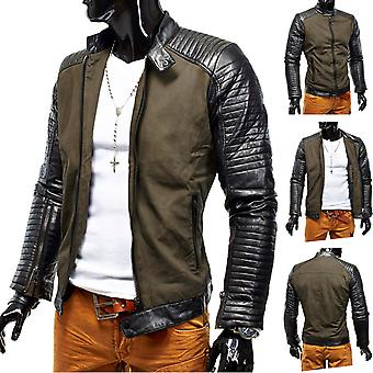 Men's Winter Jacket Hells Devil biker leather jacket quilted design Leather