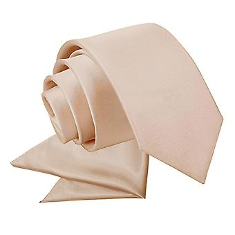 Mocha Brown plaine cravate Satin & mouchoir de poche Set pour les garçons