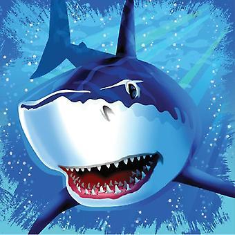 Haifisch Hai Party Servietten 33x33 cm 16 Stück Shark Haiparty Kindergeburtstag Deko