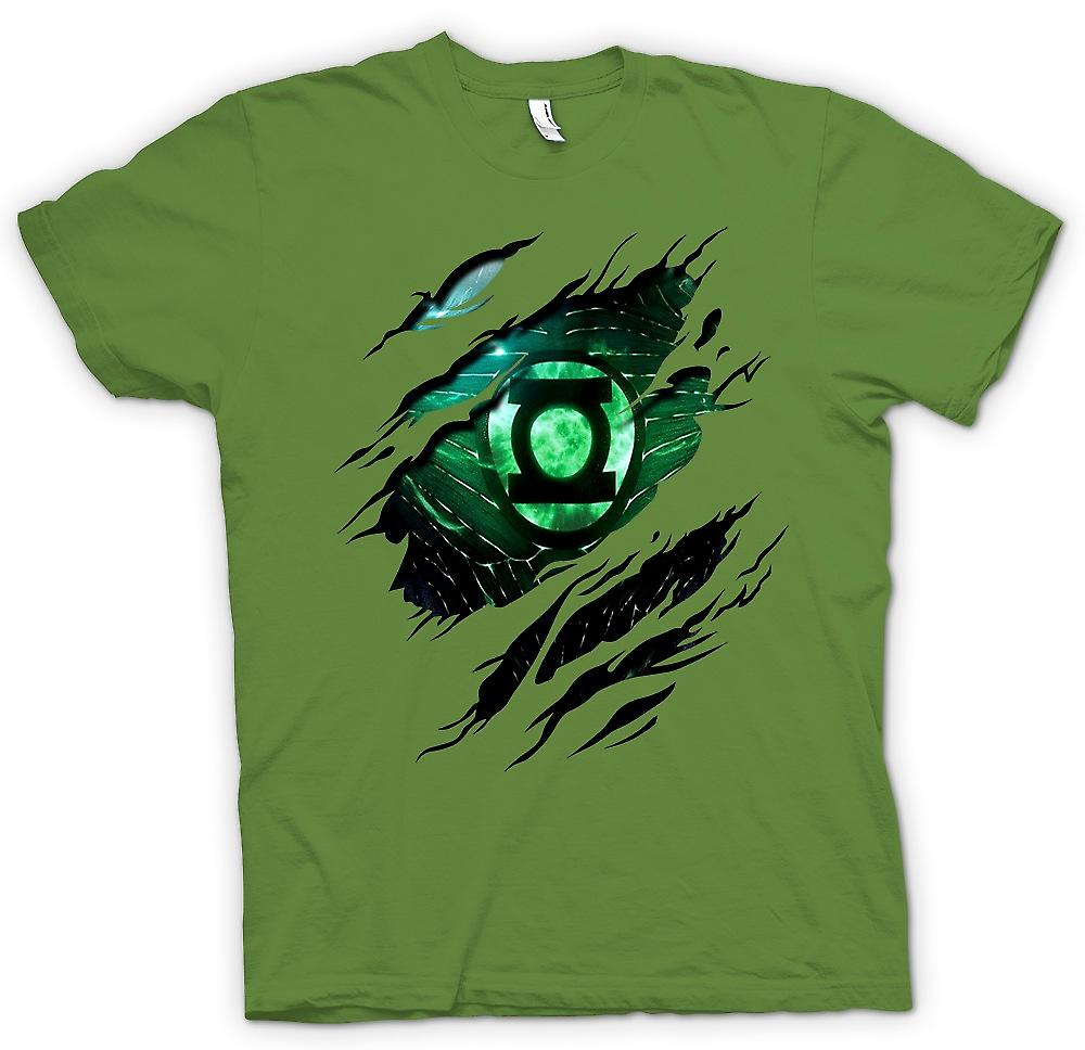 Mens T-shirt - The Green Lantern - Superhero Ripped Design