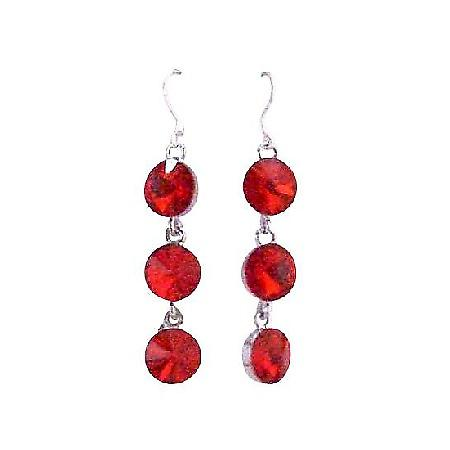 Passionate Lite Bright Siam Red Crystal Faceted Round Beads Earrings