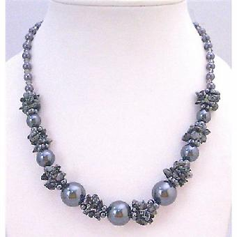 Grey Jewelry Affordable Necklace Under $10 With Grey Pearl Grey Nugget Chips & Grey Glass Beads stunning Neckalce