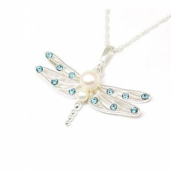 Toc S. S. Bleached White Freshwater Cultured Pearls Dragon Fly Pendant 18