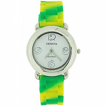 Toc Kids Funky Yellow and Green Striped Silicone Strap Watch