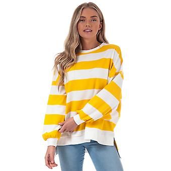 Womens Only Chili Stripe Crew Sweatshirt In Cloud Dancer / Solar Power