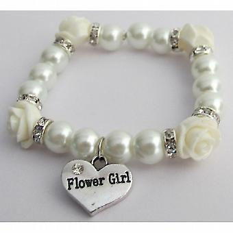 Flower Girl Bracelet Wedding Gift Ivory Rose Flower Bead Spacer