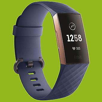 Para Fitbit Charge 3 pulsera plástica/silicona para hombre/talla L reloj azul marino