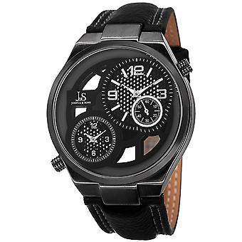 Joshua & Sons Men's JS83BK Swiss Quartz Dual Time Leather Strap Watch