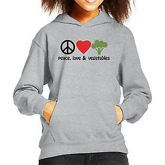 Peace Love And Vegetables Kid's Hooded Sweatshirt