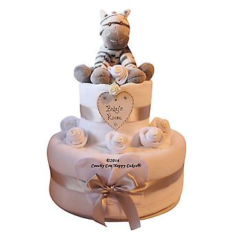 Unisex Baby Nappy Cake Gift with zebra (two Tier)