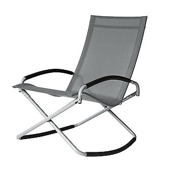 Foldable Outdoor Grey Rocking Leisure Chair, UV Resistant Fabric, Steel Frame