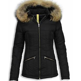Black winter coat ladies with fur collar-short warm coat women