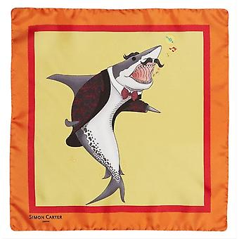 Simon Carter Under the Sea Shark Pocket Square - Orange