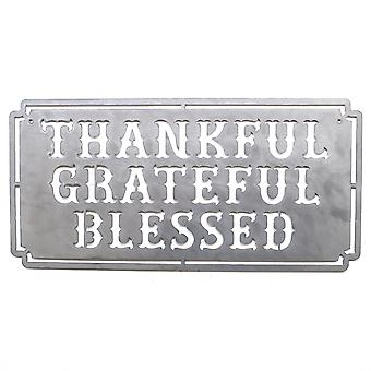 Thankful grateful blessed - metal cut sign 24x12in