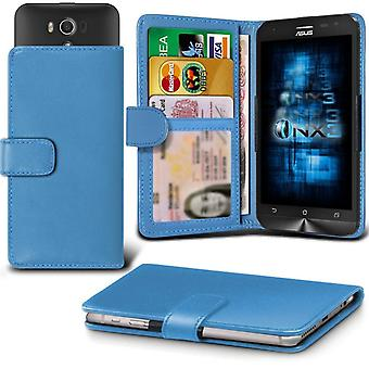 ONX3 Asus PadFone E cuir Universal Spring Clamp Etui portefeuille avec fente porte-carte et billets Pocket-bleu clair