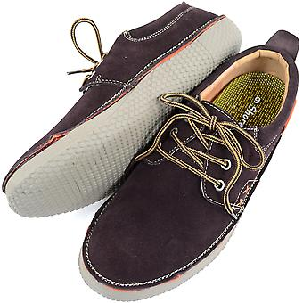 Mens Genuine Leather Suede Summer / Holiday Boat / Deck Shoes - Brown - UK 7