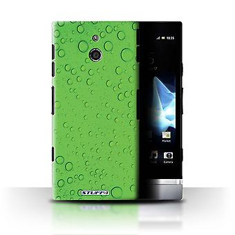 STUFF4 Case/Cover for Sony Xperia P/LT22i/Green/Water Droplets