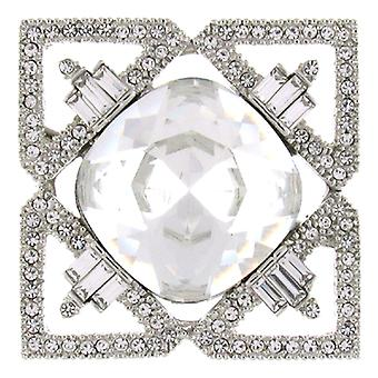 Kenneth Jay Lane Silver & Crystal Square Deco brosch