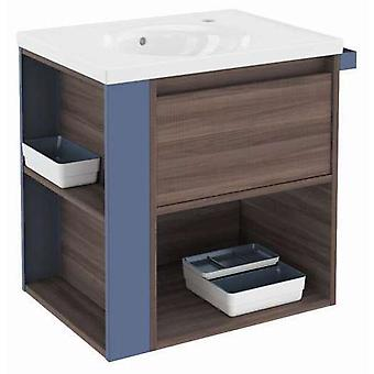 Bath+ 1 Drawer Cabinet + Shelf With Porcelain Basin Fresno-Blue 60CM