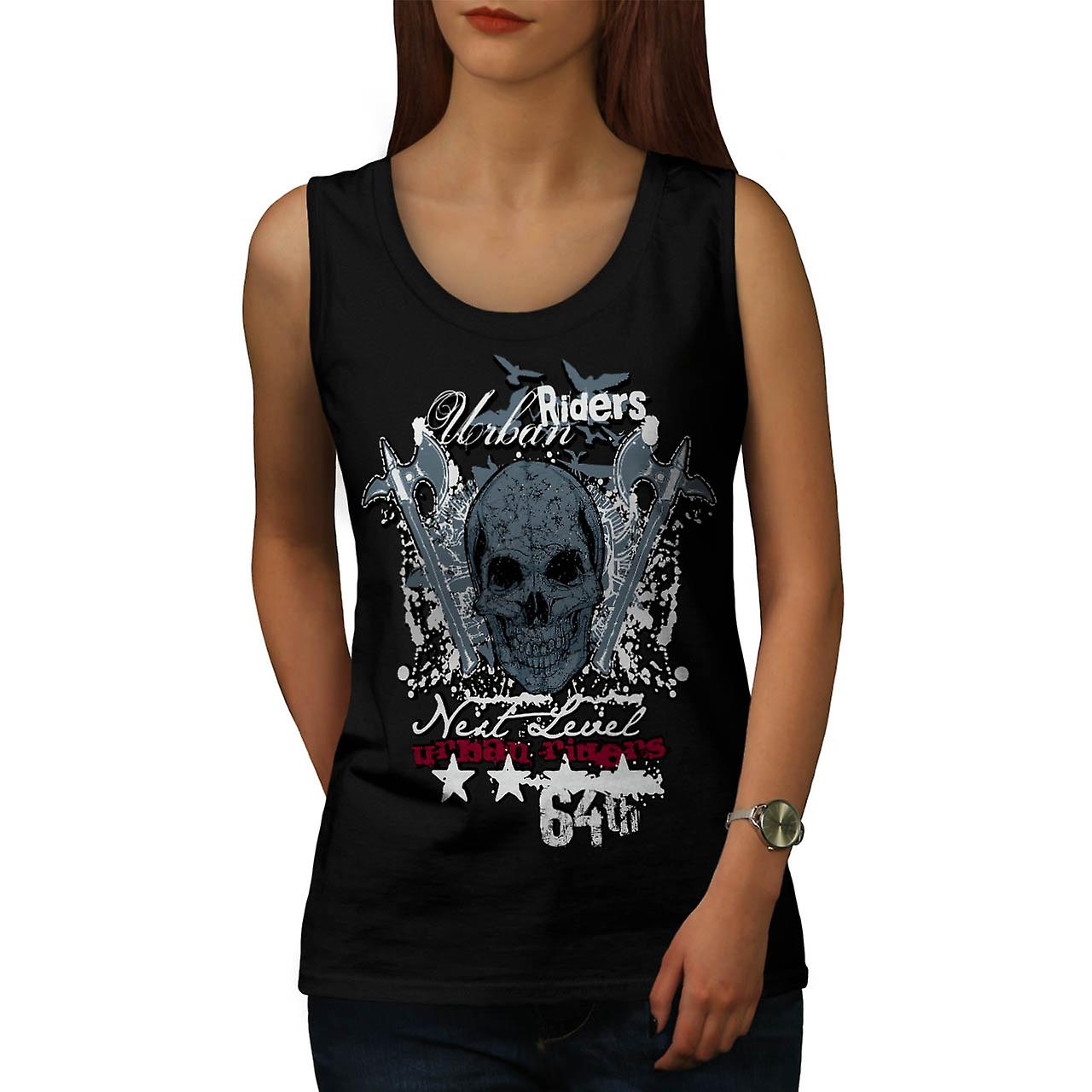 Urban Riders Skull Biker Women Black Tank Top | Wellcoda